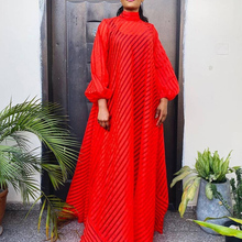 Plus Dress Spring Autumn New Loose Simple Thin Lantern Sleeve Stand-up Collar Red 2021 Long Maxi Dress Robe Vestiods African