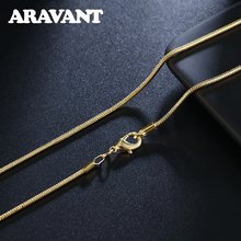 Silver 925 Width 2MM Gold Chains Necklace For Women Men Fashion Jewelry 16