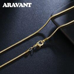 Argent 925 largeur 2MM or chaînes collier pour femmes hommes bijoux de mode 16