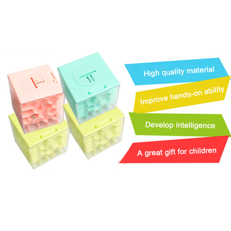 Large 8x8x8cm Novelty 3D Money Maze Bank Cube Puzzle Saving Coin Collection Case Box Brain Game Children Toy Gift Toys For Kids