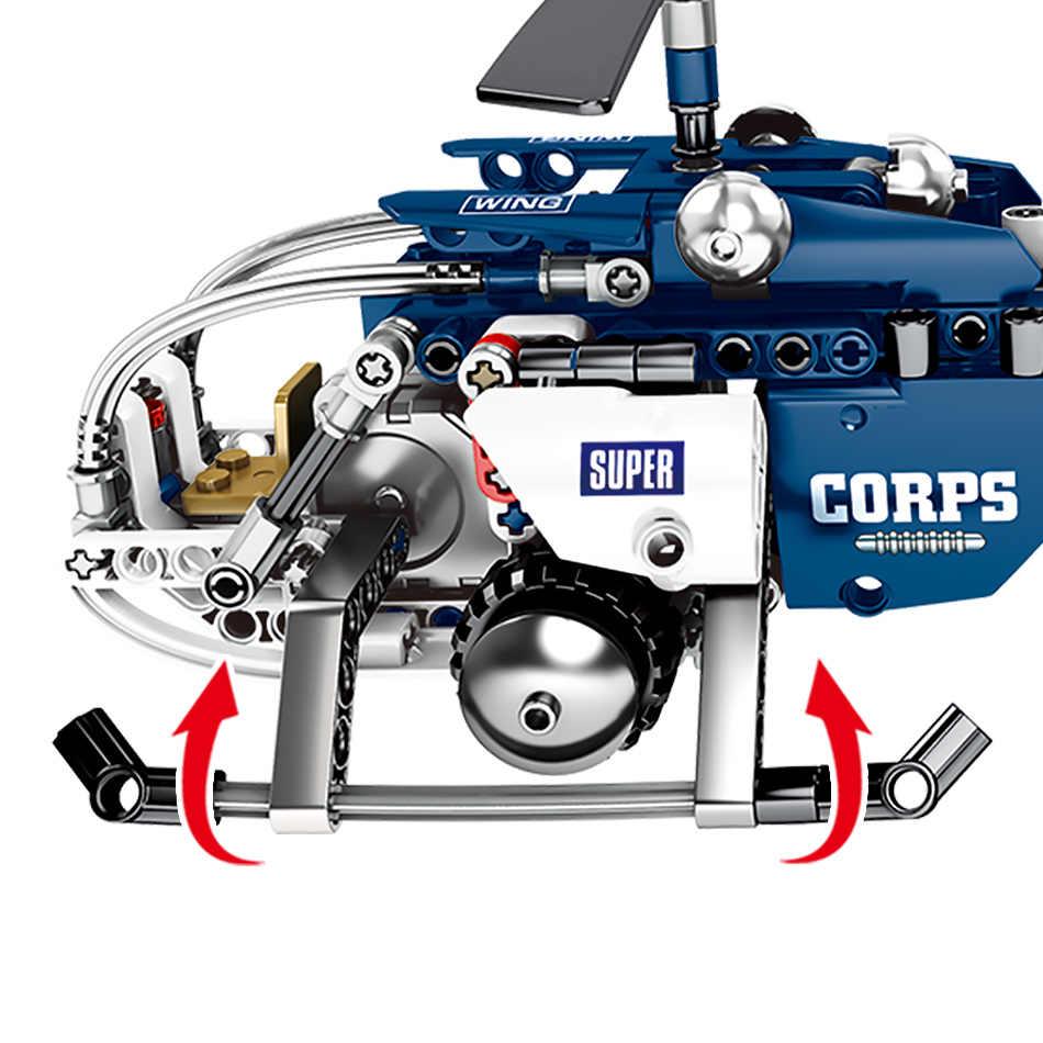 251 sztuk DIY Jedi-Combat helikopter klocki wojskowe armii myśliwca kreatywne zabawki dla dzieci