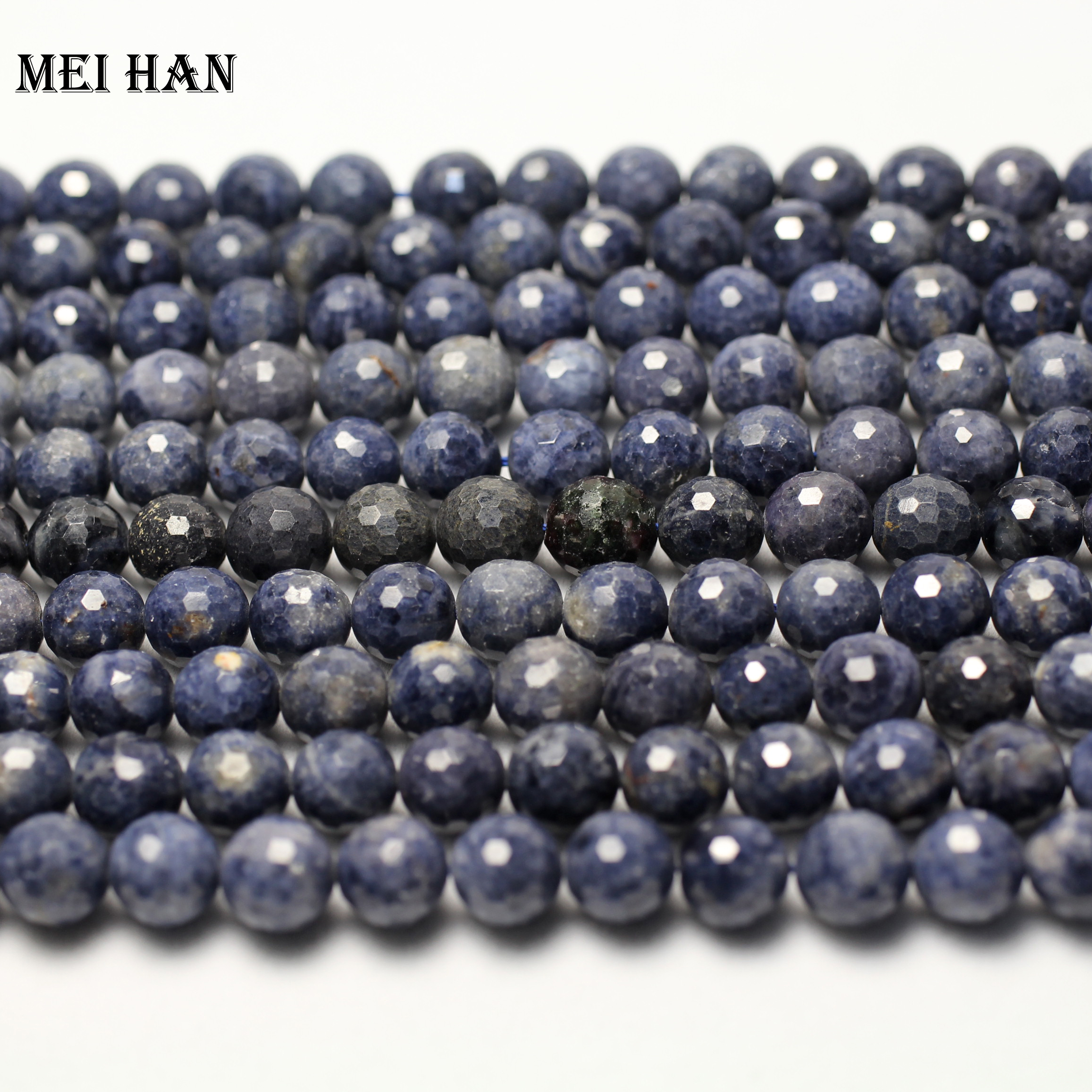 Image 2 - Natural blue sapphiree (42 beads/set) 9mm  0.2 faceted round  loose beads for jewelry making design fashion stone diy braceletloose  beadsbeads for jewelry makingbeads for jewelry