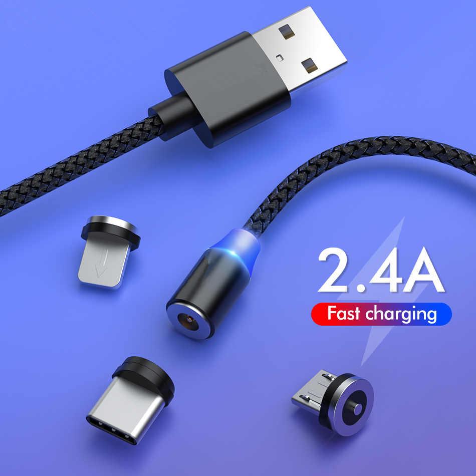 Cable USB magnético para Samsung Xiaomi Huawei Cable de teléfono de carga rápida Micro USB tipo C Cable imán USB C Cable