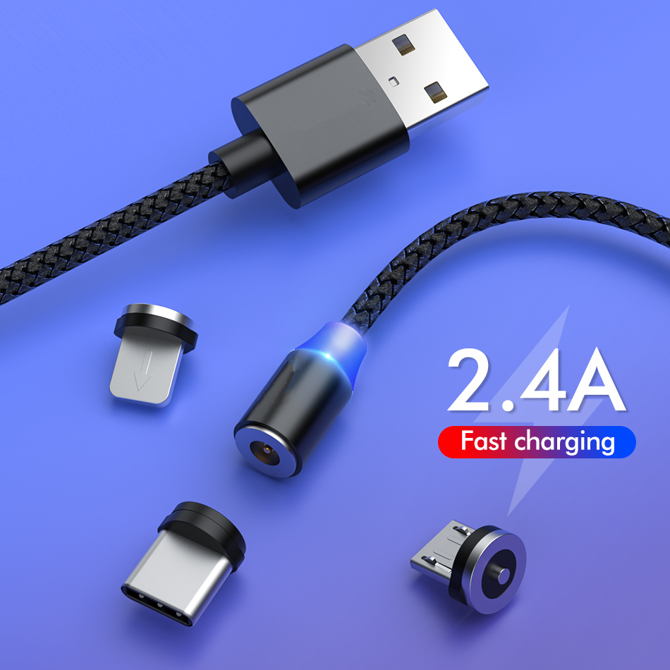 Magnetic USB <font><b>Cable</b></font> For <font><b>Samsung</b></font> Xiaomi Huawei Phone <font><b>Cable</b></font> Fast Charging Micro USB Type C <font><b>Cable</b></font> Magnet USB C Cord image