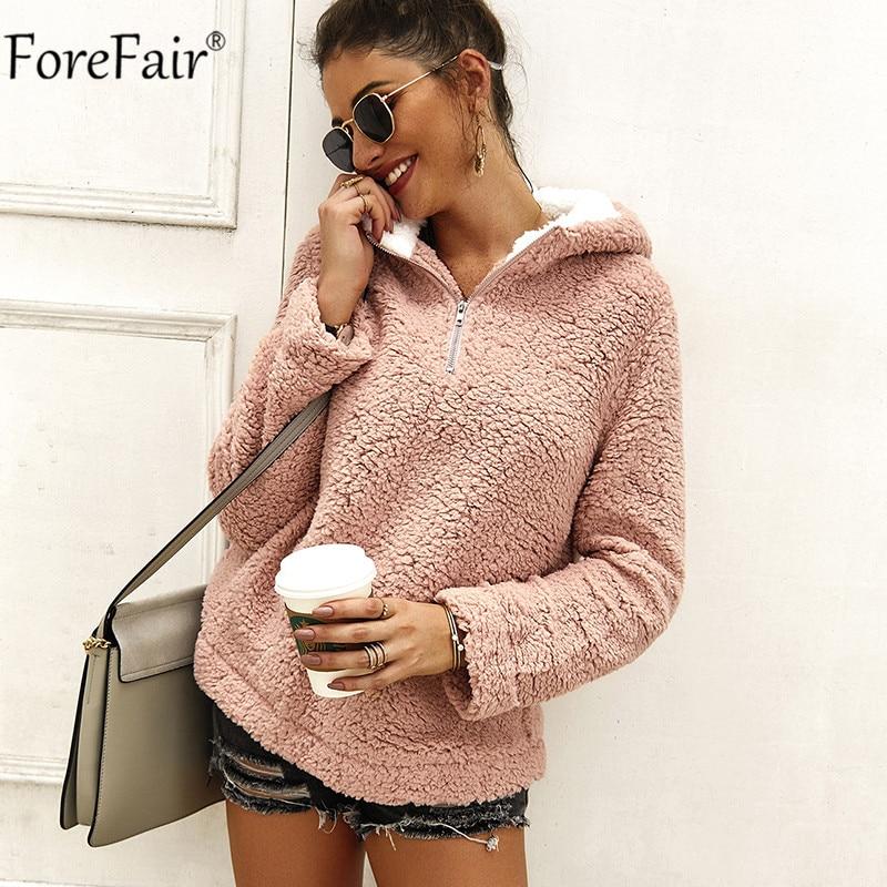 Forefair Fluffy Zipper Hoodies Women Winter Autumn Pink Loose Sweatshirt Turtleneck Streetwear Pullover Ladies Clothing