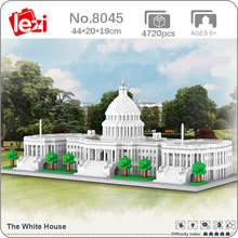Lezi – Mini blocs de diamant en briques, jouet de construction pour enfants, modèle 3D, Architecture mondiale américaine, maison blanche, bricolage, sans boîte, 8045