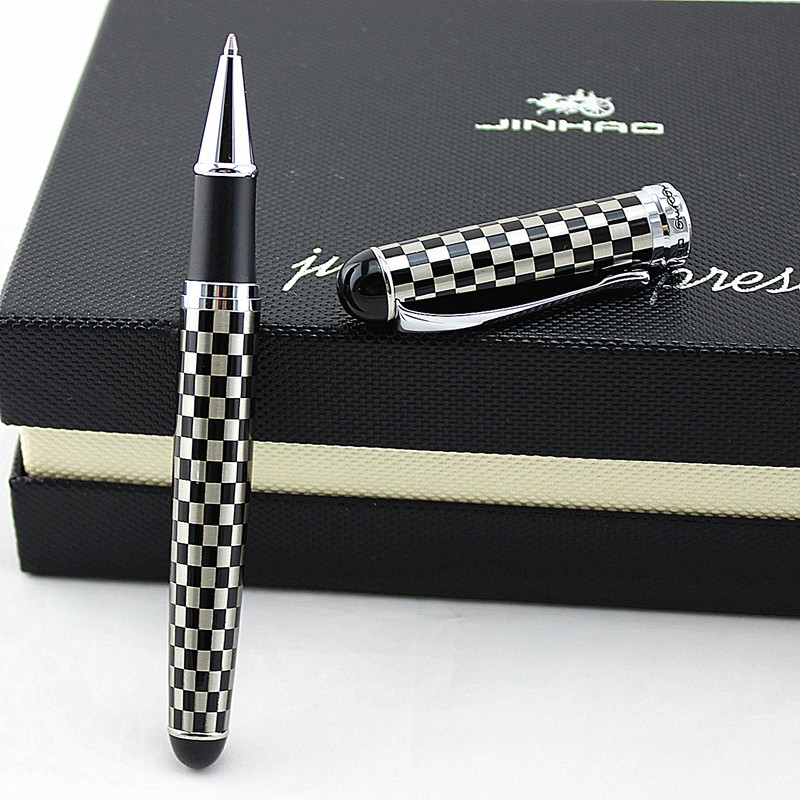 JINHAO 750 <font><b>Pen</b></font> Business Writing Supplies Grey <font><b>0.7</b></font> mm Nib <font><b>gel</b></font> <font><b>Pen</b></font> Chess boad roller ball <font><b>pen</b></font> luxury Writing ink black <font><b>Refill</b></font> image