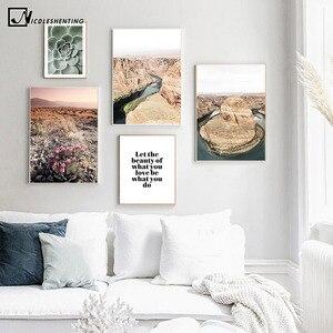Картина с изображением кактуса из колорадской реки Гоби, пейзажа, природы, пейзажа, плакат в скандинавском стиле, в скандинавском стиле, печ...