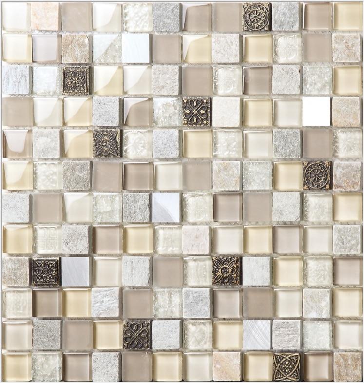 Crystal Light Beige Yellow Brown Glass Stone Marble Resin Mosaic Bathroom Wall Tile Ybl002 Kitchen Backsplash Tiles Wall Stickers Aliexpress
