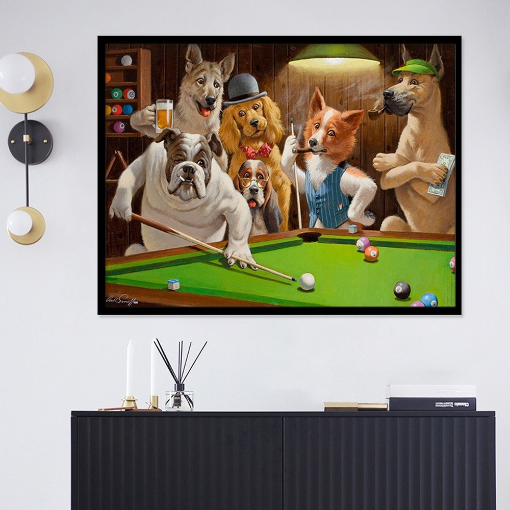 Creative Cartoon Animal Print Canvas Painting Dog Playing Billiard Poster Living Room Wall Art Pictures Home Decoration Mural image