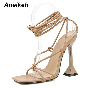 Aneikeh Fashion 2021NEW Summer Women's Sandals PU Lace-Up Thin High Cover Heel Shallow Mature Serpentine Dance Solid Pumps 35-40 8