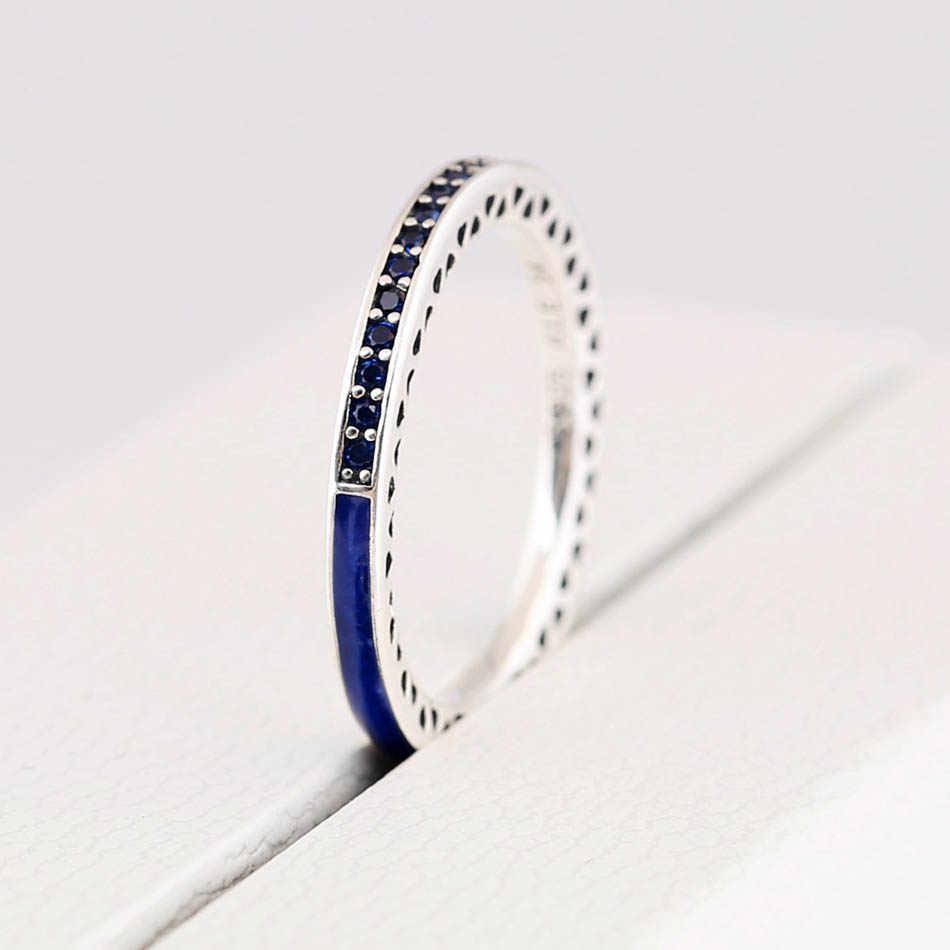 แท้ 925 เงินสเตอร์ลิงแหวน Radiant Hearts แหวนคริสตัล CZ เครื่องประดับเลดี้ Navy Enamel