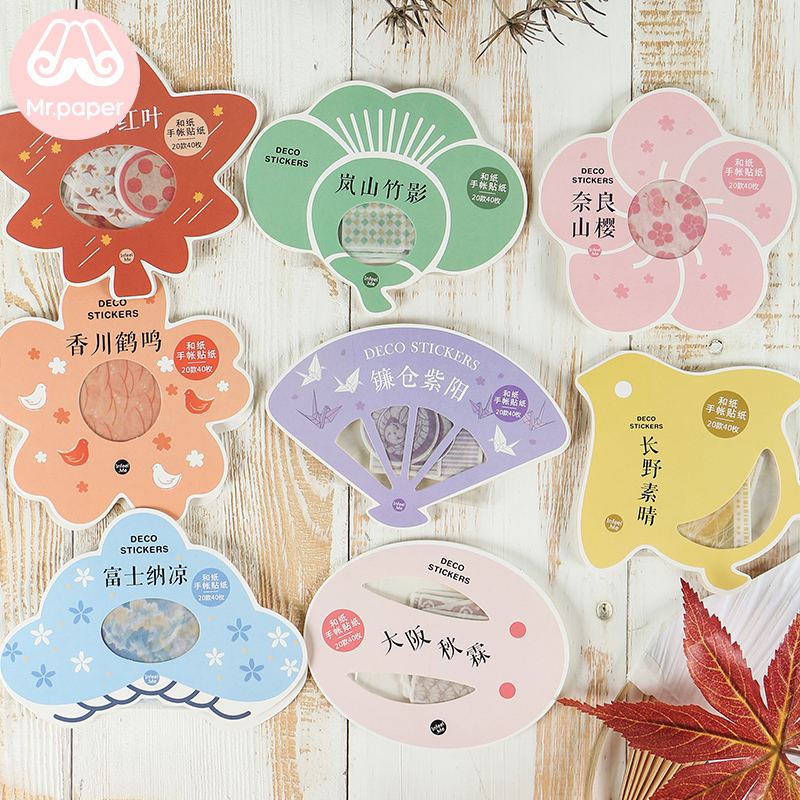 Mr.paper 40Pcs/pack 8 Designs Japanese Style Colorful Cherry Blossom Maple Leaf Stickers Bullet Journal Deco Children Stickers