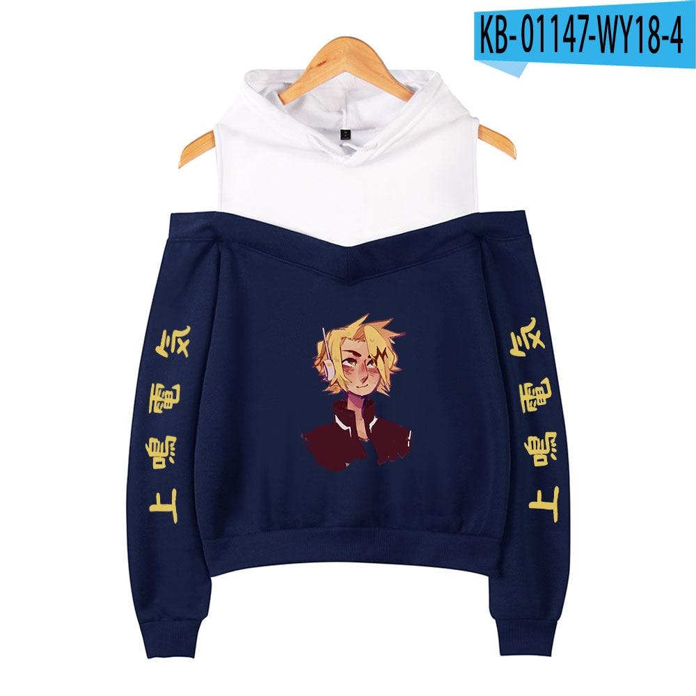 My Hero Academia Hoodies Female Off Shoulder Sweatshirt Women's Pullover Harajuku Streetwear Denki Kaminari 2021 Anime Clothes 23