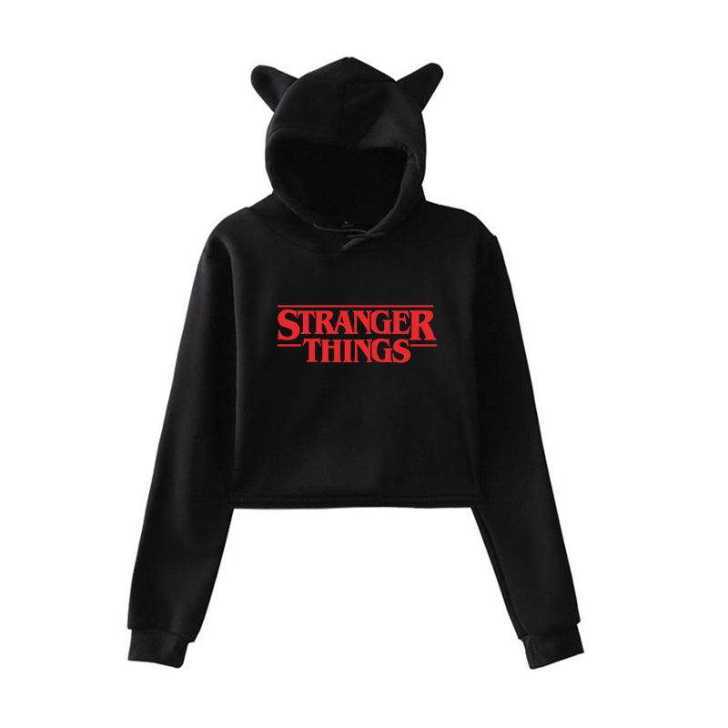 Stranger Things 2019 New Hoodies Women Print Spring Autumn Harajuku Hip Hop Short Sweatshirt Ladies Fashion Harajuku Casual Tops