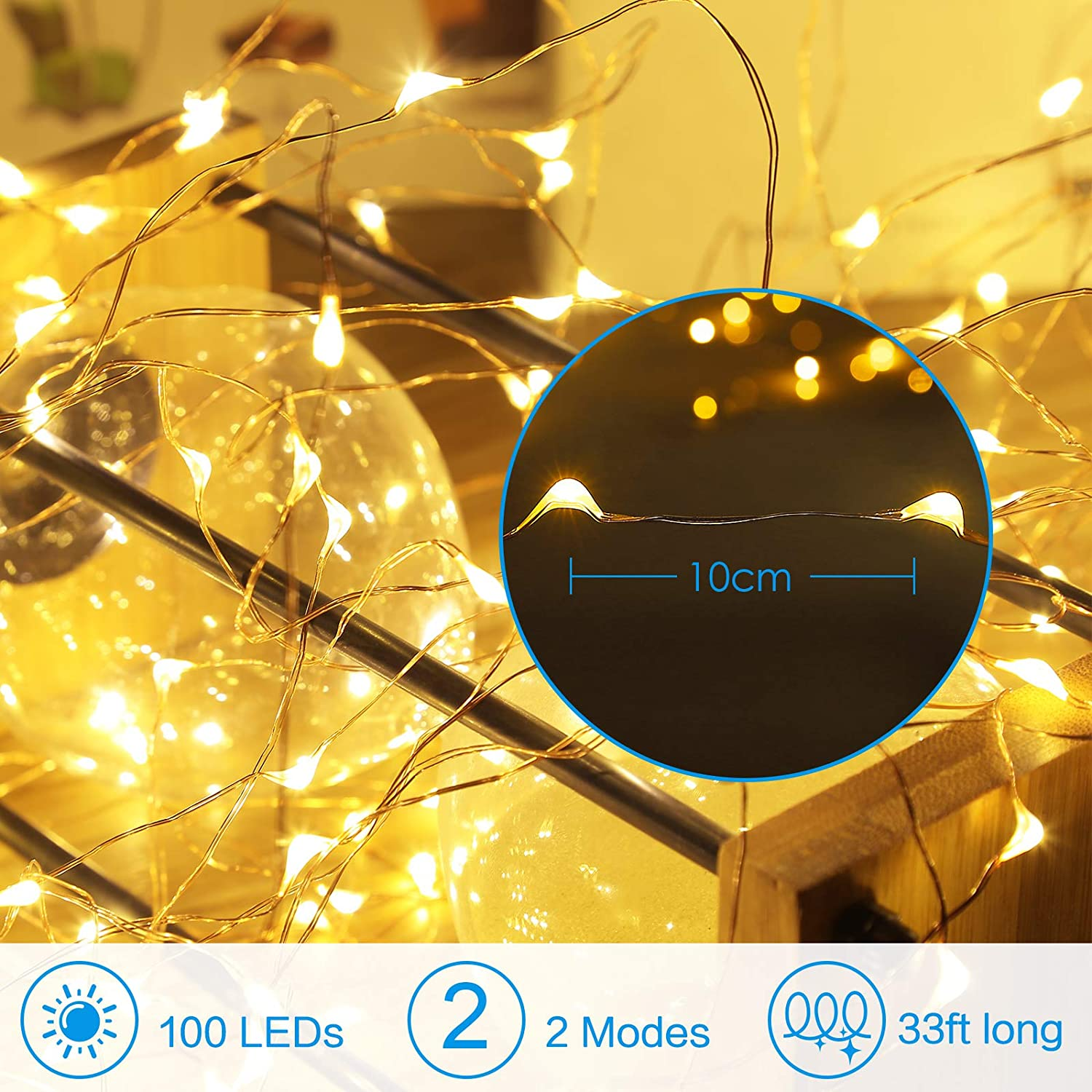 String Light 3AA CR2025 Battery USB Powered CooperGarland Christmas Xmas Outdoor Holiday Wedding Party Bed Fairy LED Decorations