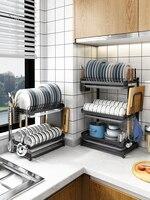 Free punching dish rack wall hanging dish dish drain tray plate tableware storage box stainless steel kitchen rack