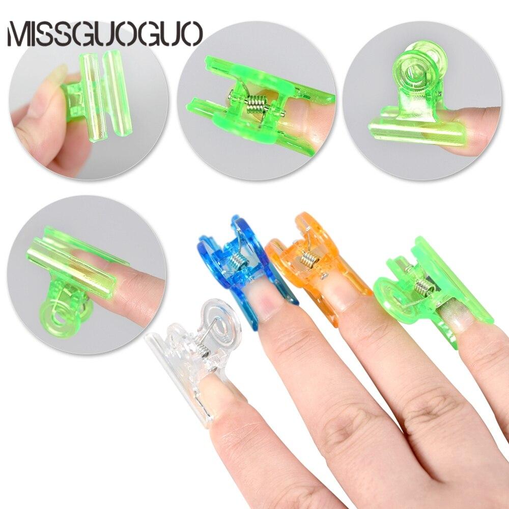 Missguoguo 4 Colors C Curve Nail Pinching Clips Curvature Clip Professional Fiberglass Nail Extension Nail Accessory Clips