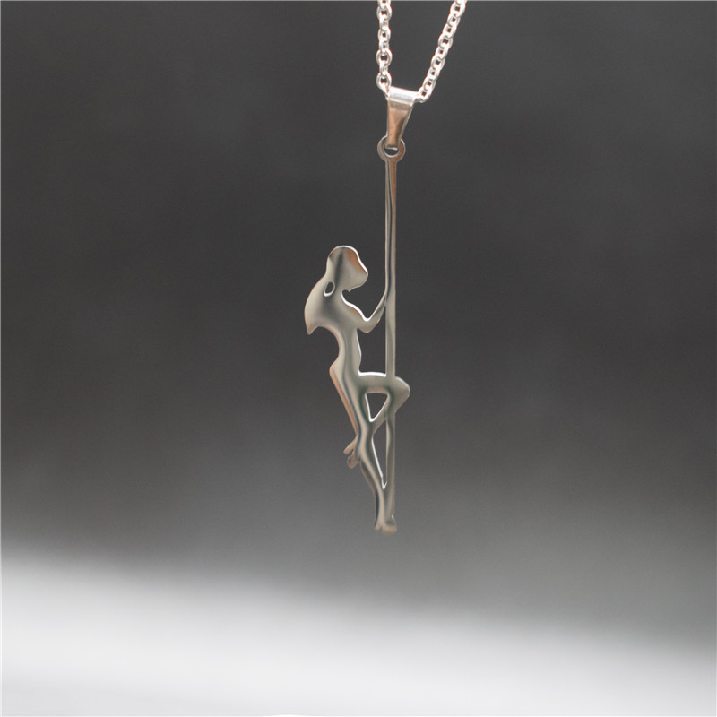 New Stainless Steel Pole Dancer Pendant Necklaces Strip Dancer Silhouette Gift for Bachelorette Party Women Necklaces Jewellery
