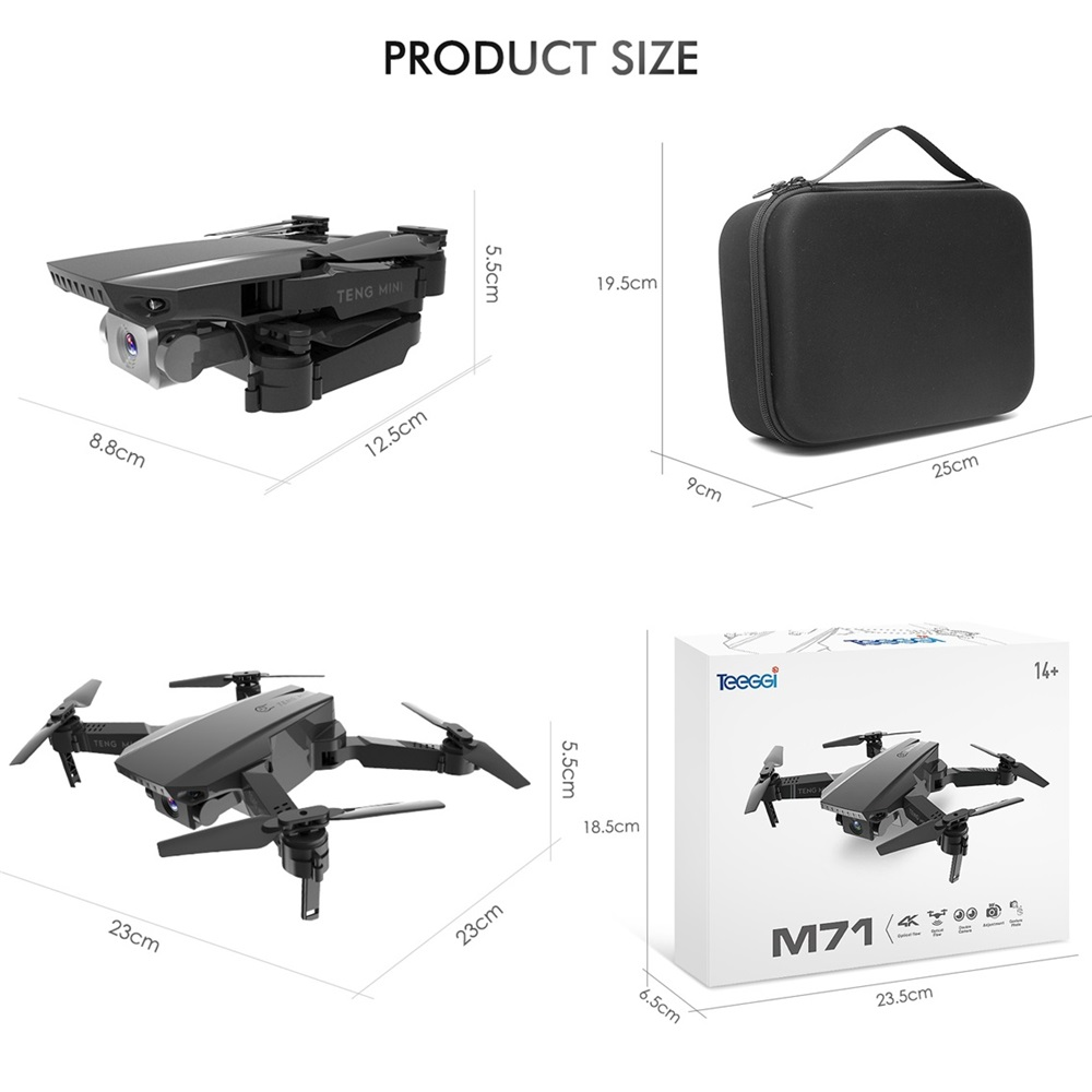 Teeggi M71 RC Drone with 4K HD Camera Foldable Mini Quadcopter WiFi FPV Selfie Drones Toys for Kids Dron VS SG106 SG107 E68 E58 5