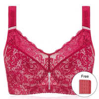 Women's Full Coverage Lace Minimizer Bra Plus Size Lightly Lined Underwire Floral Bra for Big Breast Woman 44 46 48 F H J I J K