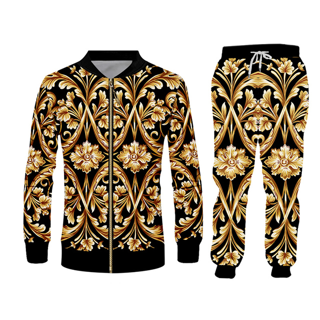 UJWI brand 3D Print Men two piece set Gold Flower Luxury Royal Baroque Tracksuit Jacket Sweatsuit Sweatshirt Hoodies sports 5XL 2