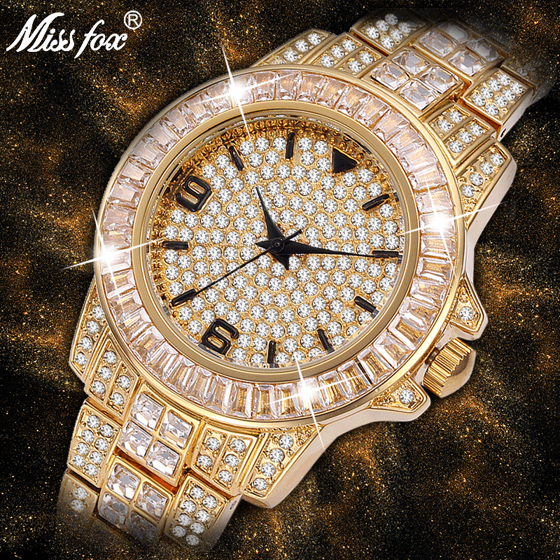 New MISSFOX Full Diamond Rolexable Watch Woman Arabic Numerals Steel Bracelet Elegant Watches Luxury Brand High Quality Watch