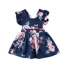 Fashion Toddler Kids Baby Girls Clothes Flower Backless Party Pageant Tutu Gown Dress Sundress Children Clothing