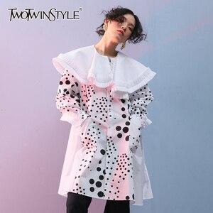 Платье TWOTWINSTYLE, летнее, ассиметричное, с о-вырезом, рукавами-фонариками, высокой талией