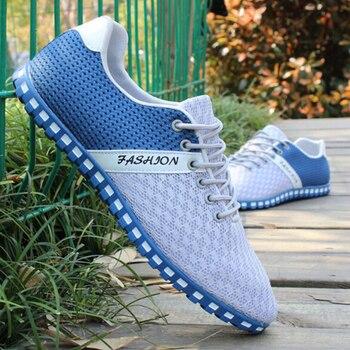 Nuevos zapatos informales para hombre, mantel de tela de malla de aire de primavera, mocasines de tela de retales para hombre, zapatos de lona de ocio para hombres, zapatos de paseo de gran tamaño