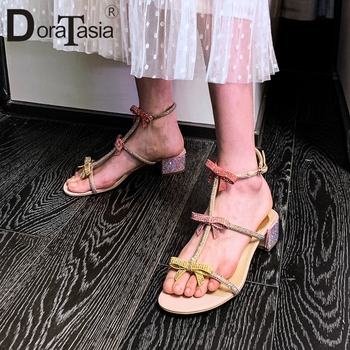 DORATASIA New Brand Design Concise Narrow Band Sandals Summer Med Heels Sandals Women Comfort All Genuine Leather Shoes Woman