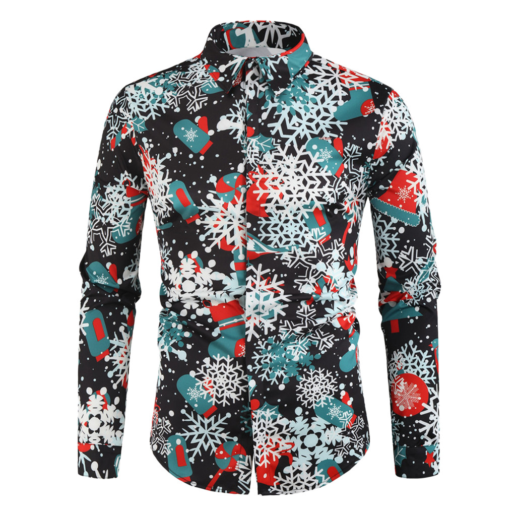 Funny Shirt Printed Long Sleeve Button Men Clothes Casual Snowflakes Christmas Shirt New Year Party Blouse Tops Camisas Homme#40