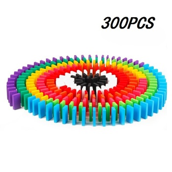 100/300/500pcs Children Color Sort Rainbow Wood Domino Blocks Kits Early Bright Dominoes Games Educational Toys For Kid Gift - 300PCS
