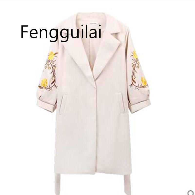 Ladies Spring Autumn Woolen Coat Womens New Embroidered Lantern Sleeves Female Medium Long Slim Thick