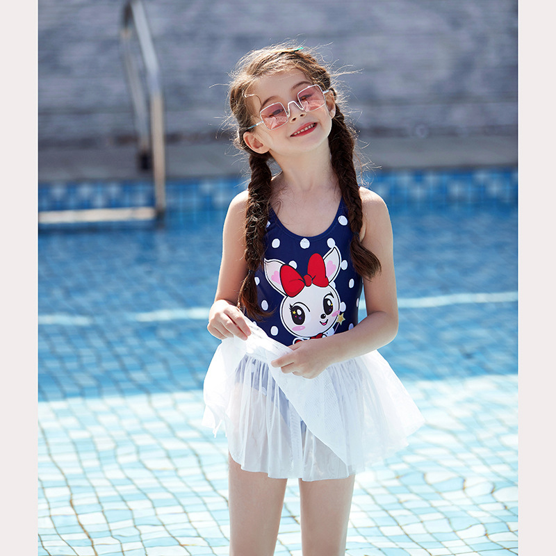 2019 New Style Cartoon Polka Dot Fashion One-piece KID'S Swimwear Mesh Dress Splittable Mock Two-Piece Small CHILDREN'S Swimwear