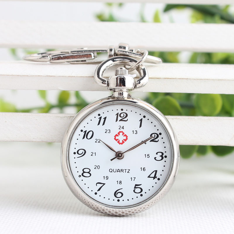 1PC No Waterproof Watches Elderly Clear Large Numbers Nurse Pocket Watches Keys Holders Watches Student Tests Nurse Watches