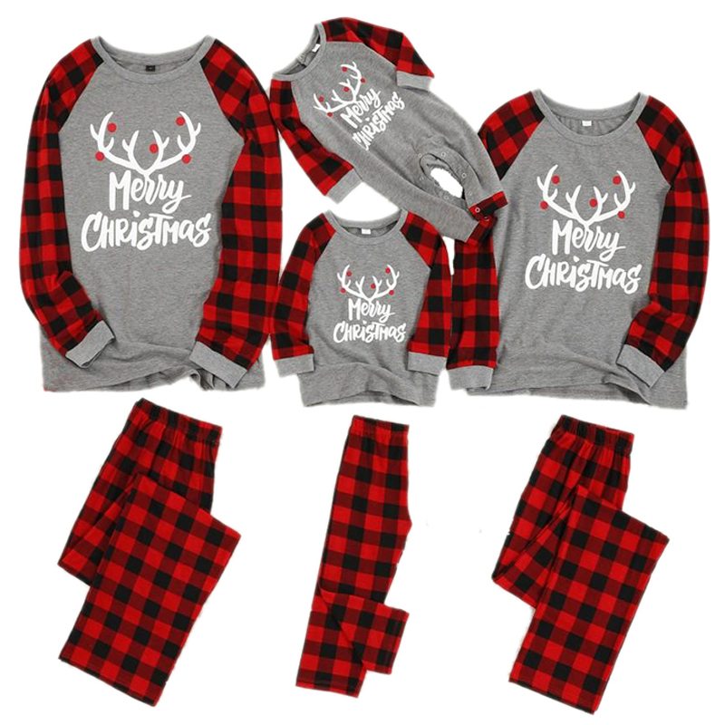 Family Christmas Pajamas Set Xmas Clothes Parent-child Suit Home Sleepwear New Baby Kid Dad Mom Matching Family Outfits H0929