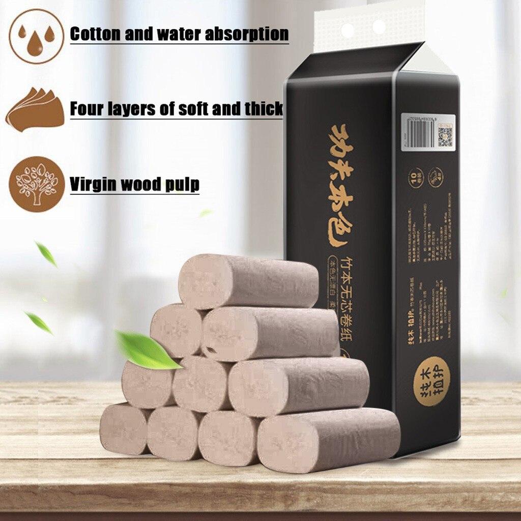 4 Ply 10 Rolls Toilet Paper Bulk Rolls Bath Tissue Paper Household Bathroom Soft Household Tissue Napkins Wholesale Dropshipping