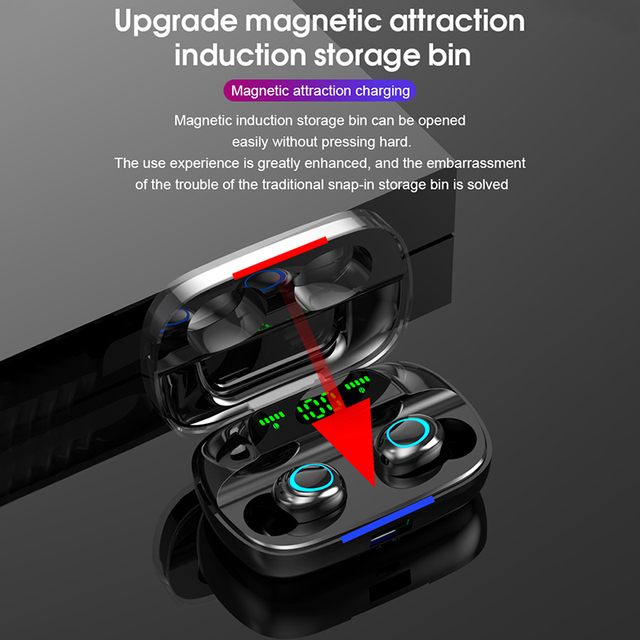 TWS Bluetooth Wireless Headphones with Microphone 3500mah Earphones HIFI Stereo Noise Cancelling Headset earbud auriculares 4