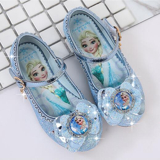 Girls Princess Shoes New Brand Spring Autumn Children Wedding Shoes For Student Glitter Kids Party Shoes Elsa Shoes