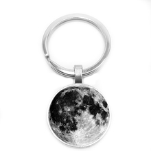 2019 New Hot Sale Galaxy Moon Pattern Keychain, Glass Convex Shape Group, Trend Old Style, with Starry Elements