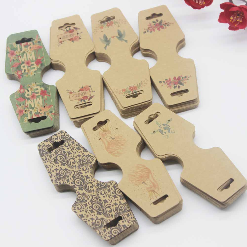 100pc/lot Newest Printed Jewelry Necklace Bracelet Hang Tag Card Kraft Paper Folded Necklace Earring Set Package Card