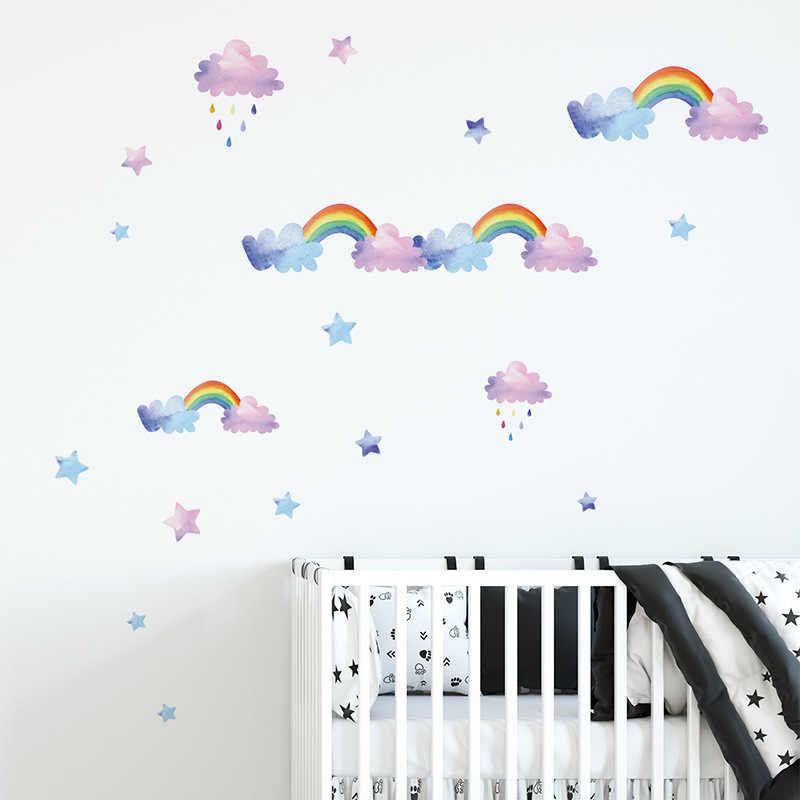Desenhos animados colorido nuvem arco-íris adesivo de parede para o quarto das crianças decoração do quarto dos miúdos decalques de parede do berçário do bebê adesivo