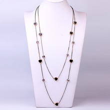88cm Fashion Long Gold Chain Necklaces For Women Statement Boho Heart Star Crystal Beads Multilayer Necklace Trendy Jewelry New new boho natural amazonite stones beads chain skeleton horn statement necklace for women jewelry factory wholesale