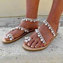 Flat Sandals Pearl Flip Flops Rome Shoes String Bead Slippers Mujer Gladiator Sandalias Sapatos Femininos