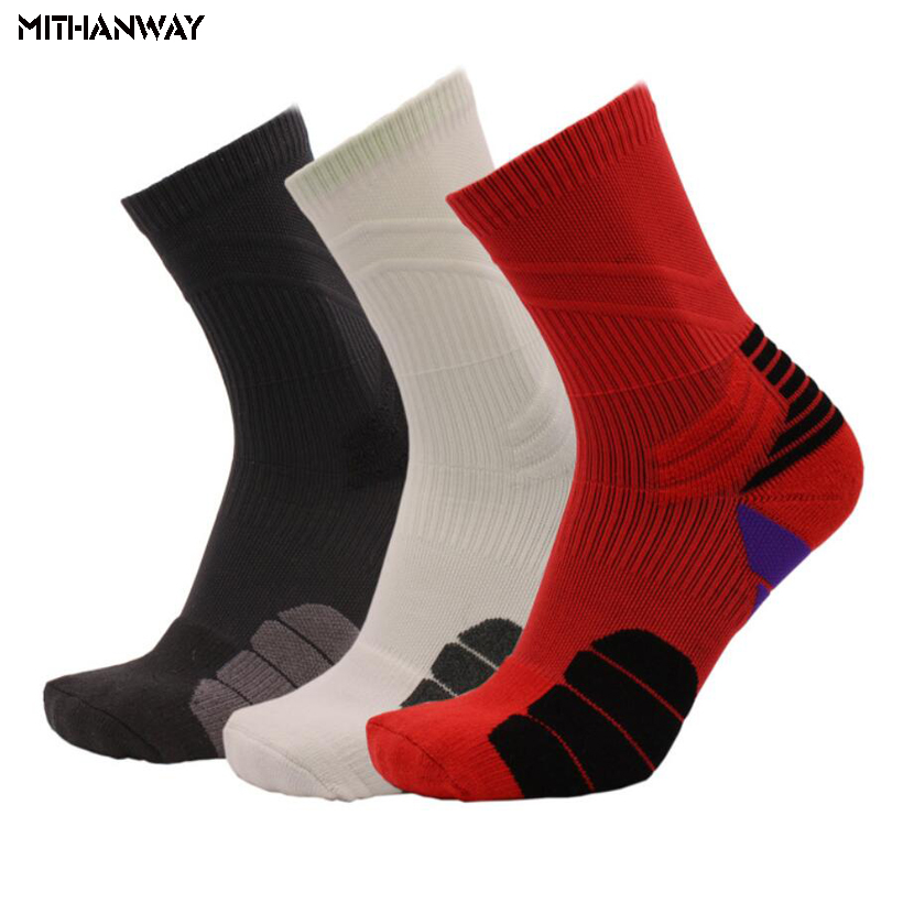 Men Long Basketball Sports Sock Breathable Towel Bottom Non-slip Cycling Football Running Tennis Sport Socks 3 Colors Wholesale