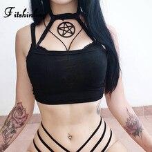 Fitshinling Gothic Pentagram Choker Women Camis Tube Top Crop Spaghetti Strap Black Sexy Camisole Female Grunge Dark Slim Tops