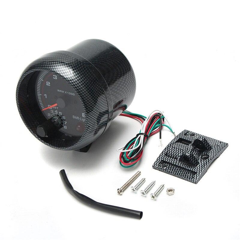 Tachymètre jauge diamètre 95mm/3.75in 12V DC noir fonctionne sur 4 6 8 cylindres moteurs universel s'adapte 12V essence véhicule antichoc - 5