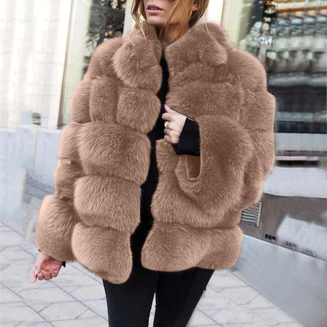 Women Winter Top Fashion Fur Coat Elegant Thick Warm Outerwear Fake Fur Jacket