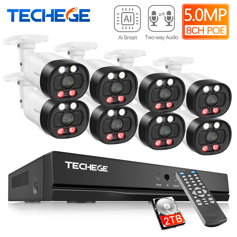 Techege 8CH Super HD 5MP Surveillance System Two-way Audio Human Detection Metal Waterproof Outdoor AI Camera CCTV Camera System